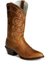 Handmade Men's Dark Tan Leather Cowboy Mexican Western Hunter Jumper Boots - $459.99