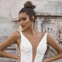 Sexy Deep V-neck Princess A-Line Sleeveless Bridal Gown Beaded Floral Appliques image 3