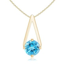"""Solitaire Natural Swiss Blue Topaz Pendant Necklace Gold/Silver 18"""" Chain - $155.82+"""