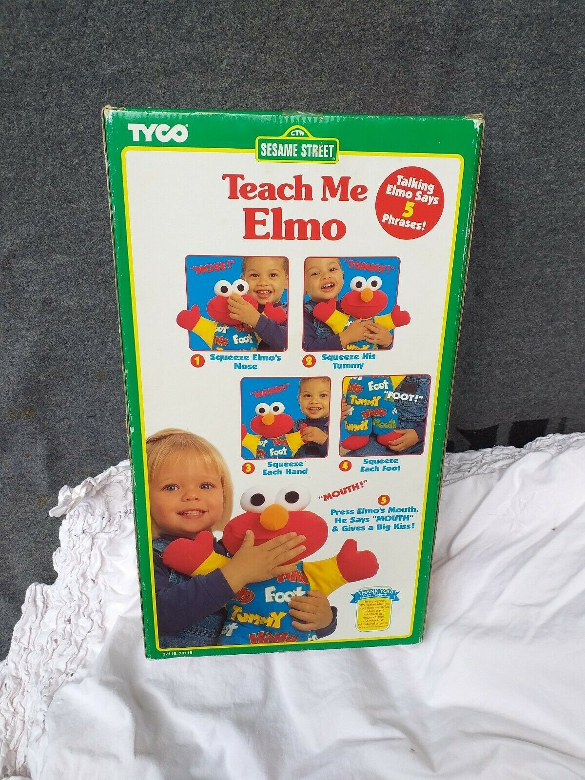 New Box Vintage Teach Me Elmo Original 90's 1996 Tyco Plush Doll Sesame Street image 6