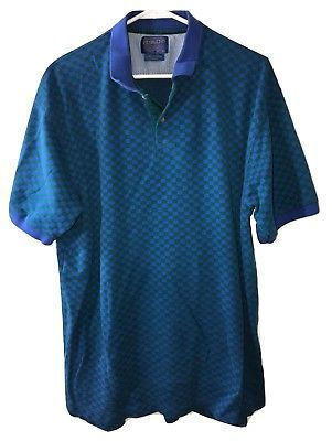 PENDLETON Mens Vintage Blue Green Southwest Aztec Short Sleeve Polo Shirt XL 89ca34f85