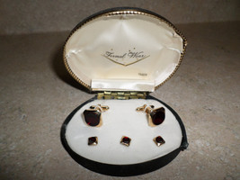Vintage 1950's Swank Formal Wear Cuff Links & Studs with Red Stones - $50.00