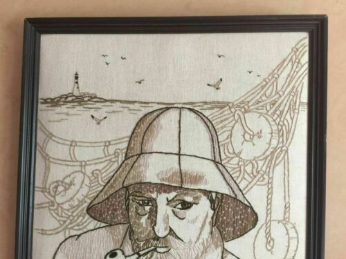 Fisherman Smoking Pipe Framed Needlepoint Embroidery Wall Art Old Man of the Sea