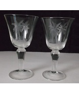 PAIR Etched PALM TREES Goblets Wine Water Iced Tea Tropical Cocktails Gl... - $39.98