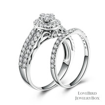 Cluster Halo Bridge Accent 925 Silver Cubic Zirconia Engagement Ring Set - $53.84