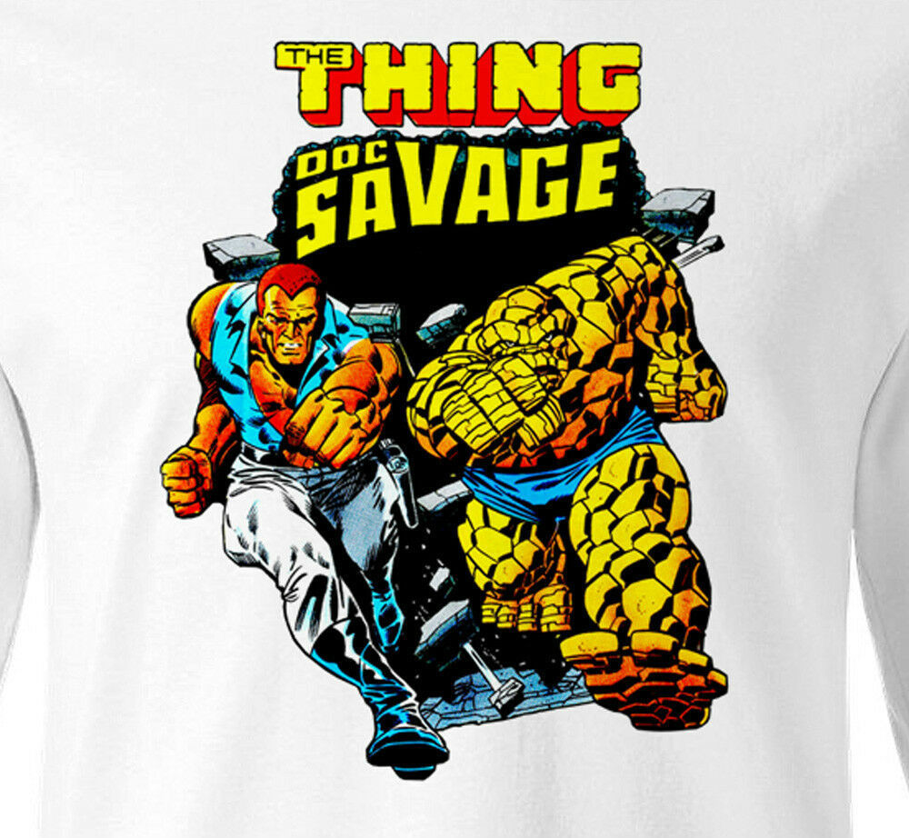 Doc Savage T-shirt Long Sleeve retro Marvel Comics 80s vintage 100% cotton