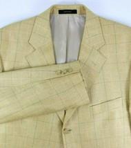 Lord West Mens Sport Coat Size 42 Three Button 100% Silk Gold WIndowpane - $79.15