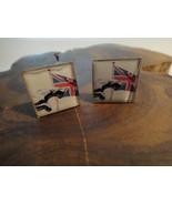 Men's Custom Jaguar Car Leaper Cat British Union Jack Flag Cuff Links Si... - $19.99