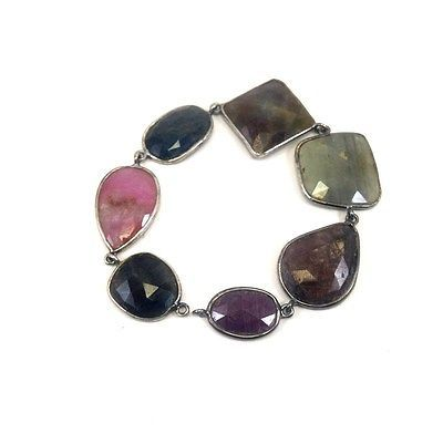 Primary image for ANTIQUE STYLE NATURAL MULTI SAPPHIRE SLICE GEMSTONE 925 STERLING SILVER BRACELET