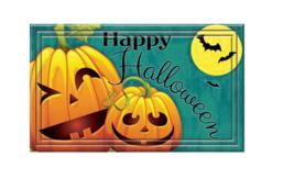Front Door Mat Outdoor Indoor Decor Happy Halloween Pumpkin Teal Porch E... - €25,21 EUR