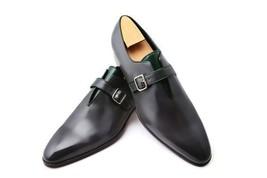 Handmade Men's Black Leather Monk Strap Shoes image 5