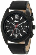 Brand New Lacoste 2010609 Panama Black Leather Chronograph Men's Watch - $173.24