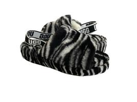 UGG FLUFF YEAH SLIDE ZEBRA BLACK WHITE MOCASSIN SANDAL US 8 / EU 39 / UK 6 - $116.88