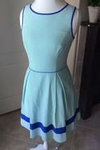 JESSICA SIMPSON Dress Size: 6 Seersucker Green Blue Stripe Fit & Flare Preppy - $49.99