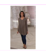 AnyBody Loungewear Brushed Hacci V Neck Swing Top,Brown Color,Size XXS - $10.94