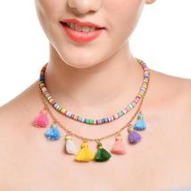 Retro Colorful Tassel Pendant Multi-layer Clavicle Chain - $4.99