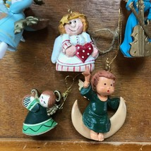 Estate Lot of Small Plastic & Carved Resin ANGEL Christmas Tree Ornaments – one  image 2
