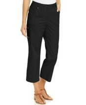 JM Collection Womens Comfort waistband Tummy Control Capri Pants Deep Black - $7.72