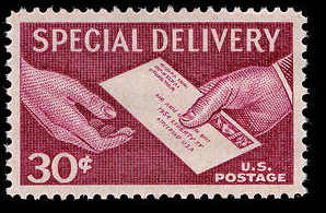 1957 Hands and Letter US Special Delivery Postage Stamp Catalog Number E21 MNH