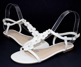 CALEB-10 New Flats Sandals Buckle Gladiator Party Beach Women Shoes White 6.5 - $12.46