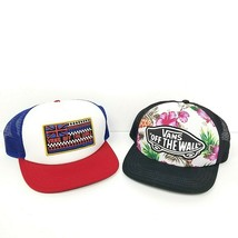 Vans Off the Wall Lot Of 2 Trucker Hat Snapback CapFloral British Flag B... - $37.26