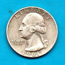1961 D Washington Quarter - Circulated - Moderate Wear 90% Silver - $6.00