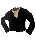 Antique Edwardian Small Black Top Woman Child Repaired or Pattern Costum... - $148.49