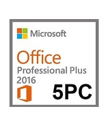 Microsoft Office 2016 Professional Plus for 5PCs-Official download +Digit - $59.99