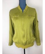 Chico's Design Women's Sz 1 Lime Green Four Pocket Bomber Jacket 100% Silk - $17.34