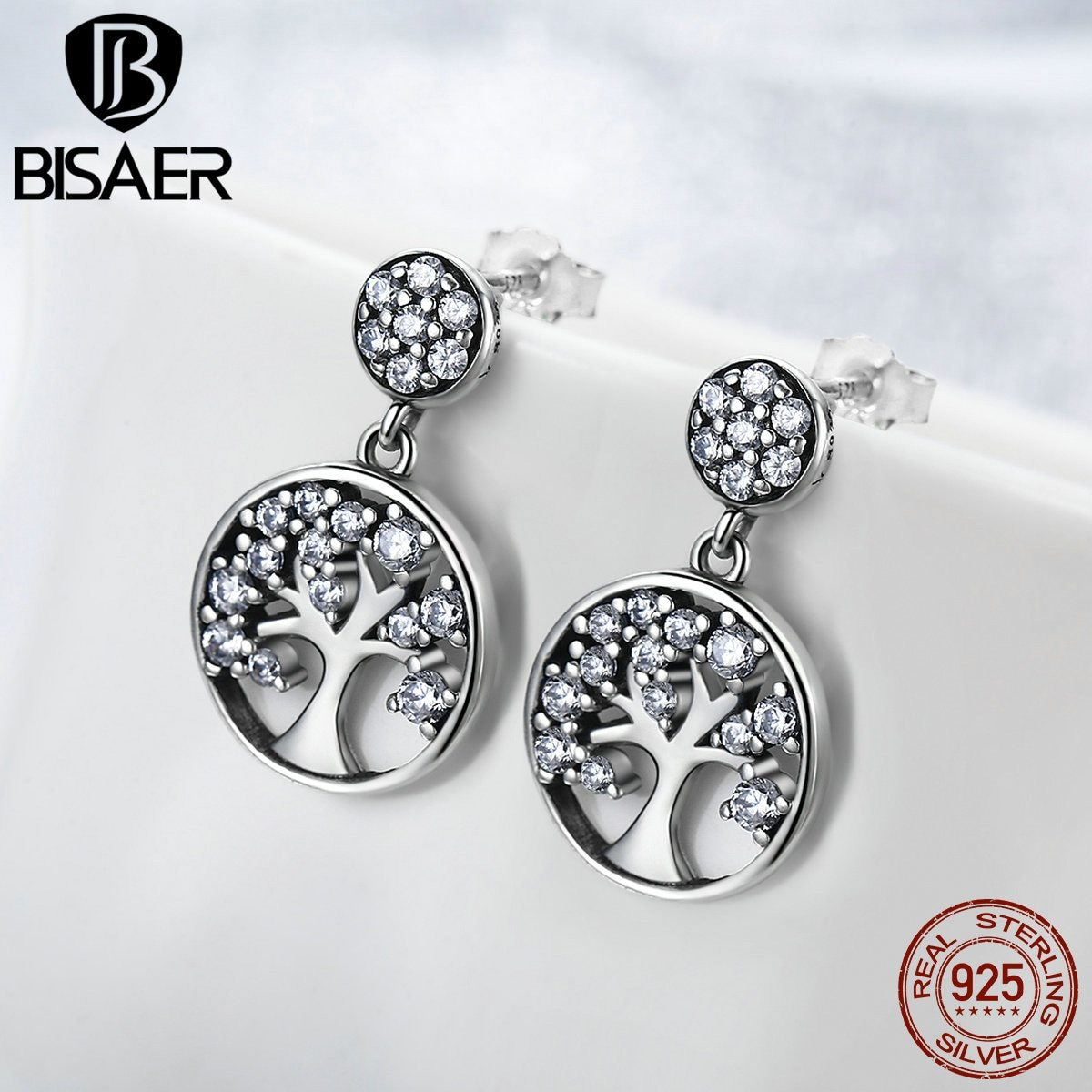 Primary image for Real 925 Sterling Silver Family Tree Of Life Clearly CZ Drop Earrings for Women