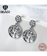 Real 925 Sterling Silver Family Tree Of Life Clearly CZ Drop Earrings fo... - $22.06