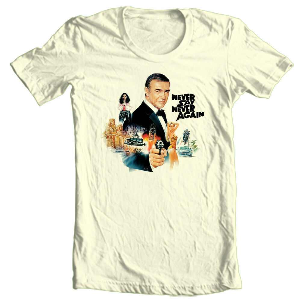 James Bond 007 T shirt Never Say Never retro movie pin up cotton graphic tee