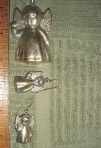 VTG 925 STERLING SILVER PUFFY ANGEL PENDANT COOKIE CUTTER BRACELET EARRI... - $287.99