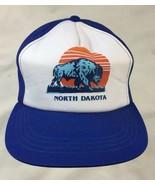 VTG-1980s Bison Buffalo North Dakota mesh rope trucker snapback hat - $32.71