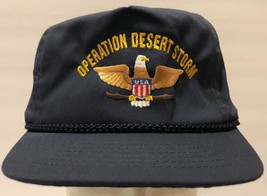 VTG Operation Desert Storm Adjustable Strap Blue Hat Military 90s Iraq B... - $37.86