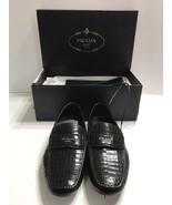 Prada Stamped Croc Loafer In Black Size 7.5 UK/8.5 US Retail Price $850 - $399.99