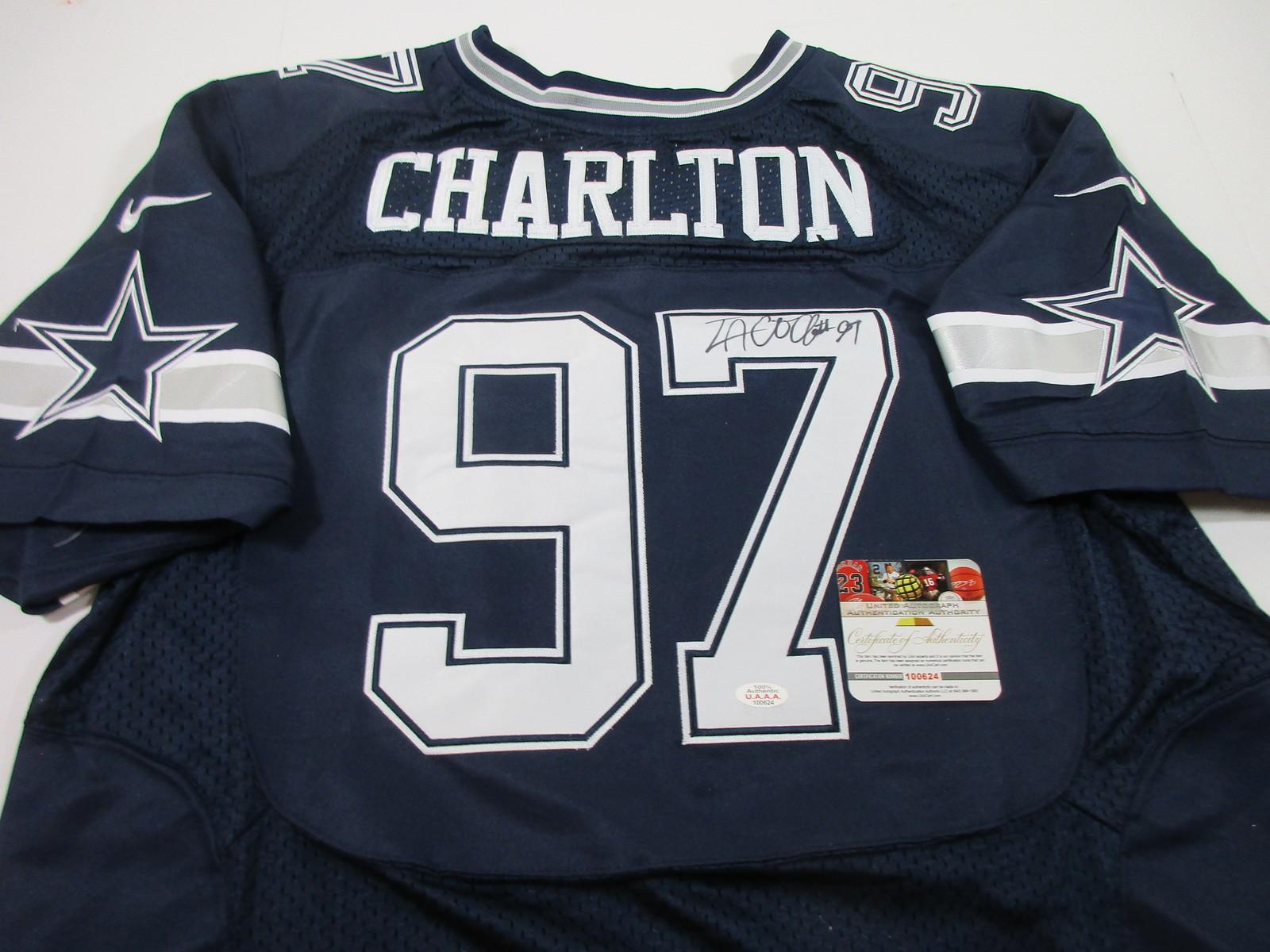 hot sale online bad93 74434 TACO CHARLTON - DALLAS COWBOYS - HAND SIGNED NFL LOGO FOOTBALL JERSEY - W/  COA
