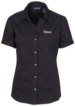 NCAA Tulane Green Wave Women's Solid Cap Sleeve Button Front Blouse, Black, Smal - $49.66