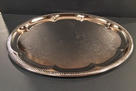 1980s 2 SterlingCraft silver plated trays 14 inch Round and 18.5 inch Pl... - $25.00
