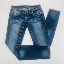 Amethyst Womens Jeans 1 Blue Skinny Stretch Dark Wash Whiskers Bold Stitch - $39.59