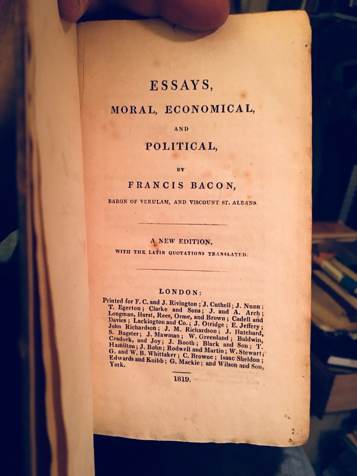 Francis Bacon — Essays Moral, Economical, and Political -  London 1819