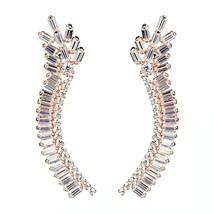ZirconZ Custom-Baguette Signity CZ Sterling Silver Art Deco EarPin Cuff Earrings - $99.99