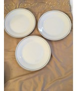 """LINENS N THINGS PLATINUM BANDED SET OF 3) SALAD PLATES--7 1/2""""--CLASSIC-... - $20.69"""