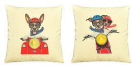 Dogs And Motorbike Print Cotton Throw Pillows Cover Cushion Case VPLC_03 - €9,15 EUR