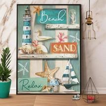 Beach Sand Relax Lighthouse Boat Seastar Coral Helmet Shells Poster/ Canvas - $21.99+