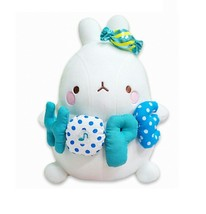 Molang Melody Plush Figure Toy Stuffed Animal Rabbit Cushion 9.8 inches (Blue)