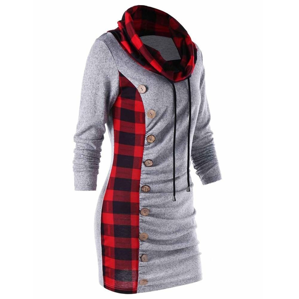 Hoodies Sweatshirt Women Harajuku Streetwear Plaid Long Hoodie 2018 Autumn Women