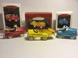 (3) Kiddie Car Classics Hallmark Keepsake Ornaments Fire & Dump Truck Ch... - $22.00