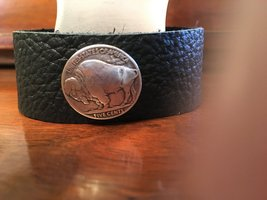 Handcrafted Donna's Designz Black Leather Bracelet with Buffalo Nickel M... - $29.99