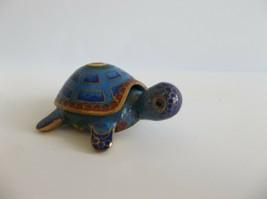Cloisonne Turtle Tortoise Jewelry Trinket Box Removable Lid Blue Miniature - £10.45 GBP
